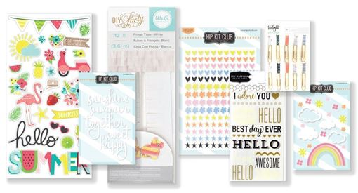 July 2018 Hip Kit Club Embellishment Scrapbook Kit